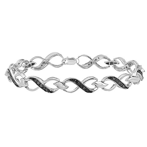 Dazzlingrock Collection 0.75 Carat (ctw) Round Black Diamond Ladies Infinity Heart Tennis Link Bracelet 3/4 CT, Sterling Silver