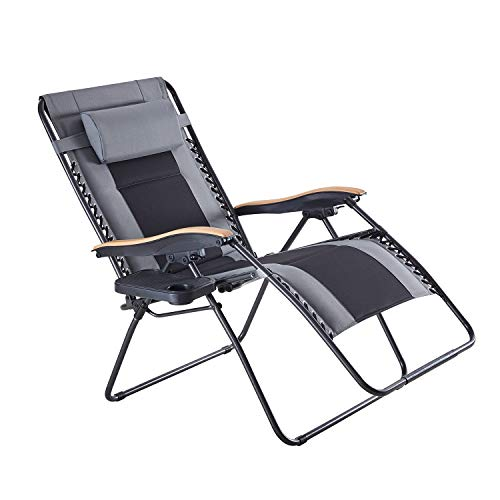 VICLLAX Oversized Padded Zero Gravity Chair Wood Armrest XXL Folding Patio Lounge Recliner with Cup Holder for Outdoor, Deck, Porch, 440lbs Weight Capacity, Black&Gray
