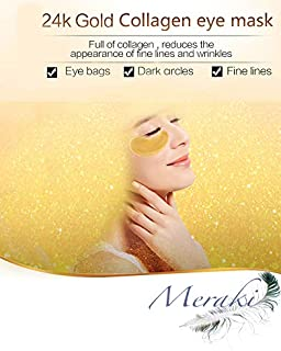 24K Gold Under Eye Pads Collagen Crystal & Powder Eye Mask Energizing Moisturising Patches for Reducing Dark Circles Puffiness Undereye Bags 10 Pairs/Box (Black)
