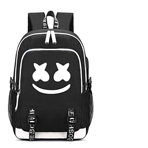 Luminous Backpack Large Volume (45 * 31 * 16cm) Folder with USB Charging Port and Audio Line Shoulder Bag for Unisex Student School Book Backpack (Marshmello Black)