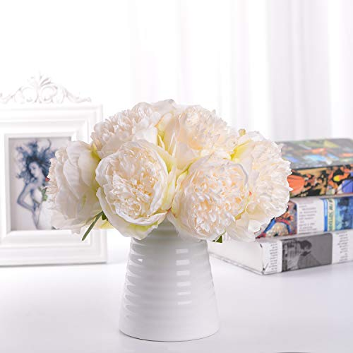 Lvydec Vintage Peony Artificial Flowers - 2 Pack Silk Peony Bouquet with 10 Flower Heads for Wedding Home Decoration (Cream White)