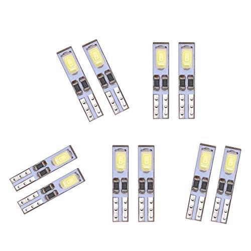 MagiDeal Lámpara Indicadora de Bombillas de Luz de Grupo de Tablero de Instrumentos LED de 10 Uds T5 6500k 12V