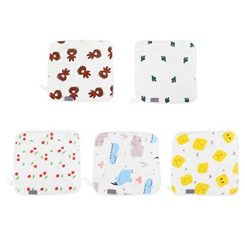 Hemoton 5 paños de bebé de 4 capas de algodón para la cara Pañuelo para bebés (color mixto)