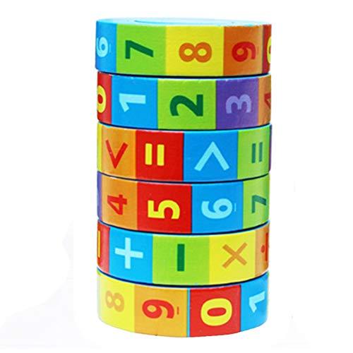 Juguete de Matemáticas Educativos Inteligencia Kinder Juguete de Aprendizaje Aritmético,Regalo Educativo de los Juguetes de Las Matemáticas para los Niños del Bebé,Madera Cilindro Números Juguete