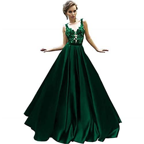Cloverbridal Sexy Smaragdgrün Satin Prom Kleider Lange 2018 Spitze Appliques Ballkleid Abendkleider Party Kleider Smaragdgrün 46
