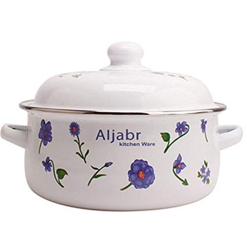Ceramic Pot with Lid,Pot with Lid Enamel 20cm,Single Traditional Round Rustic Casserole Dish- Mothers Day Gift - Oven, Freezer, Dishwasher and Food Safe