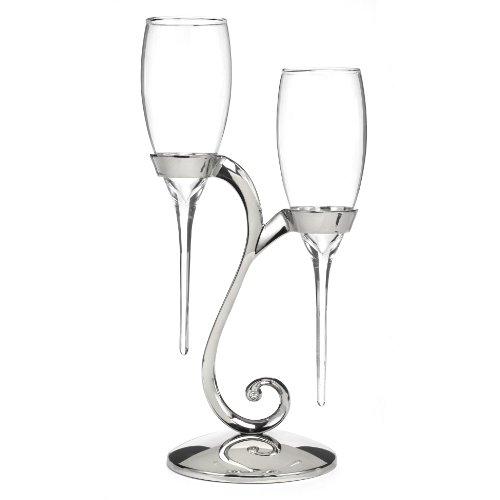Hortense B. Hewitt Raindrop Swirl Stand Champagne Toasting Flutes, Silver