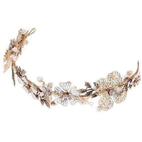 FLAMEER Strassblumen Krone Haarkrone Tiara Haarband Haarreif Kopfschmuck passt an Allen Haarstyling - G433