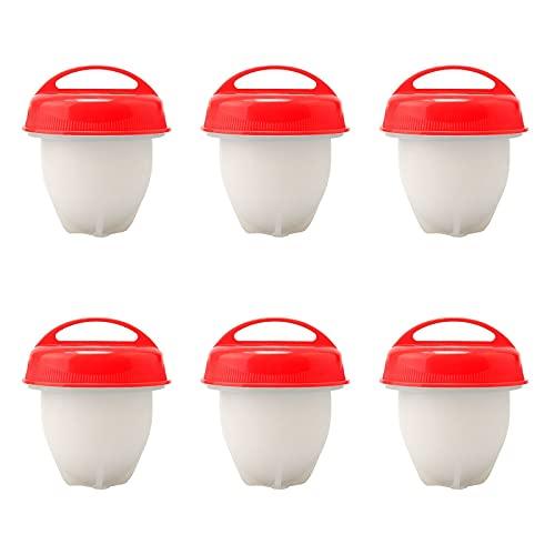 Juego de 6 ollas de silicona para huevos, sin cáscara de silicona, huevos al vapor, hueveras, escalfadores de huevos, huevos