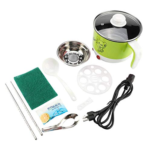 Mini Cooking Pot, 1.8L Mini Stainless Steel Electric Hot Pot Cooking Pot Rapid Noodles Cooker Cook Perfect for Steam, Egg, Soup and Stew 110V US Plug(Mint)
