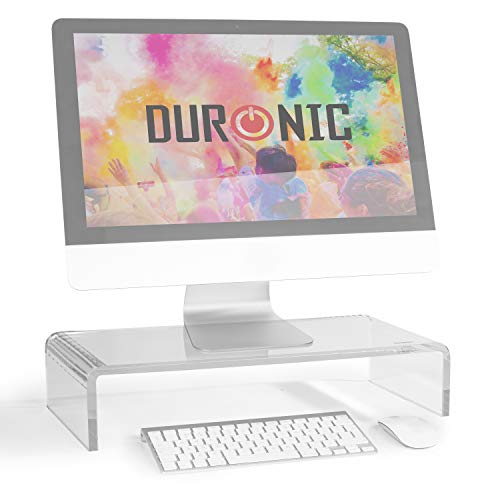 Duronic Monitor Stand Riser DM053 | Laptop and Screen Stand for Desktop | Clear Acrylic | Support for a TV or PC Computer Monitor | Ergonomic Office Desk Shelf | 30kg Capacity | 50cm x 20cm
