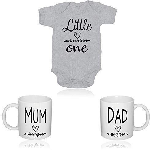 Tassen-Geschenkset für frischgebackene Eltern mit niedlichem Body Anzug für Baby, perfekte Geschenkidee, Geschenk für Neugeborene, 100 % recycelbare Verpackung