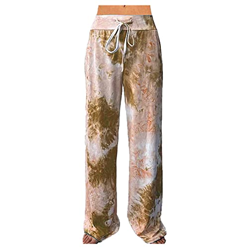 N\P Pantalones deportivos para mujer con estampado de bolsillo para yoga y pierna ancha, caqui, L