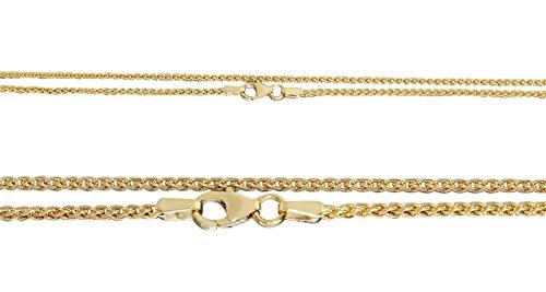 Hobra-oro 50cm Oro Catena 585catena oro 14carati treccia catena massiccio con moschettone collana