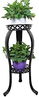 Metal Potted Plant Stand, 32inch Rustproof Decorative Flower Pot Rack with Indoor Outdoor Iron Art Planter Holders Garden Steel Pots Containers Supports Corner Display Stand