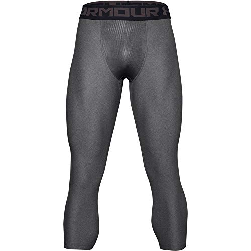 Under Armour HG Armour 2.0 3/4 Legging, Pantaloni a Compressione Uomo, Grigio (Carbon Heather/Black), L