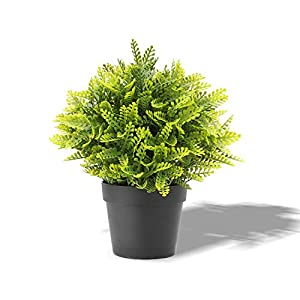 FLORALEAF Artificial Plants Small Fake Plant Green Topiaries Potted Décor Plastic Flowers Plant for Home Office Farmhouse Bathroom Tabletop Indoor Décor Mimosa Flower, 1 Pack