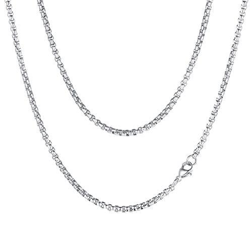 FaithHeart Herren Venezianer Box Kette 3mm Herren Damen Edelstahlkette Halskette Silber 46-76 cm