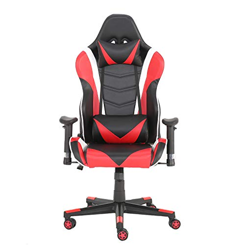 YJCFurniture Gaming Chair Racing Office Computer Game Chair Ergonomic Backrest and Seat Height Adjustment Recliner Swivel Rocker with Headrest and Lumbar Pillow Chair (Red)