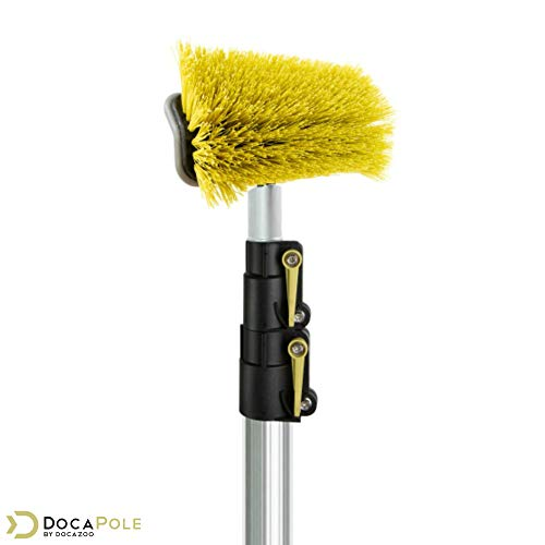DocaPole 5-12 Foot Hard Bristle Brush Extension Pole  11 Scrub Brush with Telescopic Pole   Long Handle Cleaning Brush and Deck Brush for House Siding, Deck, Garage, Patio and more