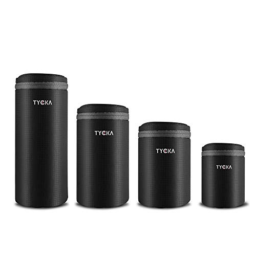 TYCKA Objektiv Tasche für Objektiv wasserdichte Kamera-Objektivtasche mit Reißverschluss für DSLR-Kameraobjektiv 4 Größen, schwarz