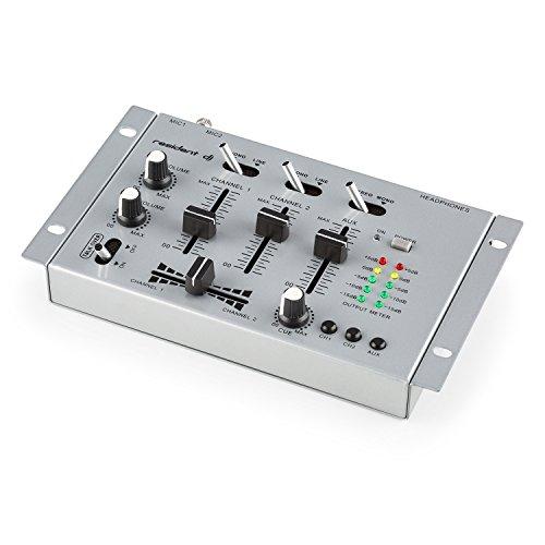 resident dj TMX-2211 - DJ-Mixer, 3/2-Kanal Mischpult, DJ-Mischpult, Mikrofon-Eingang, Kopfhörer-Ausgang, 2 x Phone-Line-In, 1 x Cinch-Line-In, 1 x Cinch-Line-Out, Talkover-Funktion, Silber