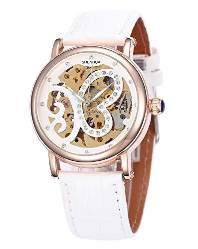 Carrie Hughes Reloj mecánico automático de piel para mujer, oro rosa, con diamantes de imitación, mariposa
