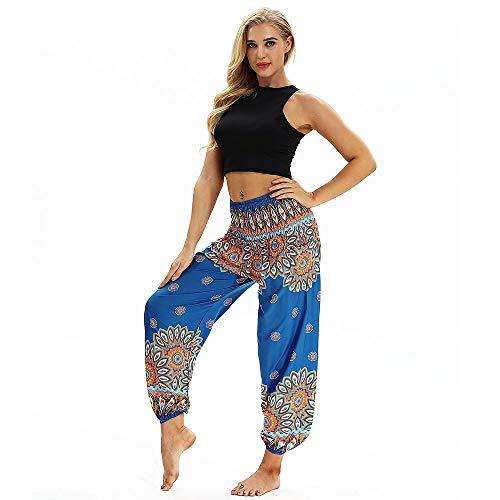 Pantalón largo de mujer Harem con estampado de talla grande para mujer Pantalón ancho Leggings anchos Suelta Pantalones de Yoga Cintura Ancha Pantalones fluidos Mujeres Ocasionales de Verano Largo