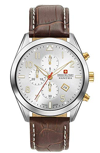 Swiss Military Hanowa Unisex Erwachsene Analog Quarz Uhr mit Leder Armband 06-4316.04.001.02