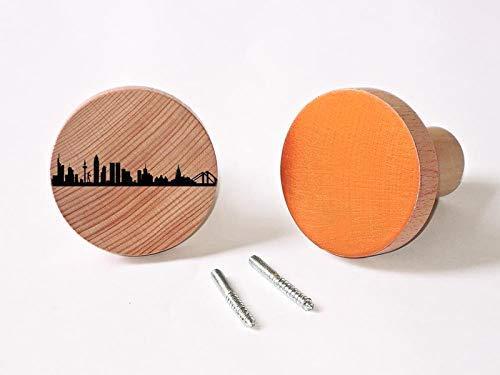 Wandhaken Kleiderhaken 2x Runde Design Garderobenhaken Frankfurt Motiv Türhänger Holz Haken für Wand Wohnzimmer Badezimmer Innenraum