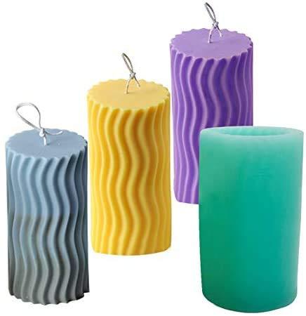 GZWY Molde de silicona 3D para velas, para manualidades, fabricación de velas, cilindro ondulado para aromaterapia, para fabricación de velas, piedras aromáticas, chocolate, jabón,…