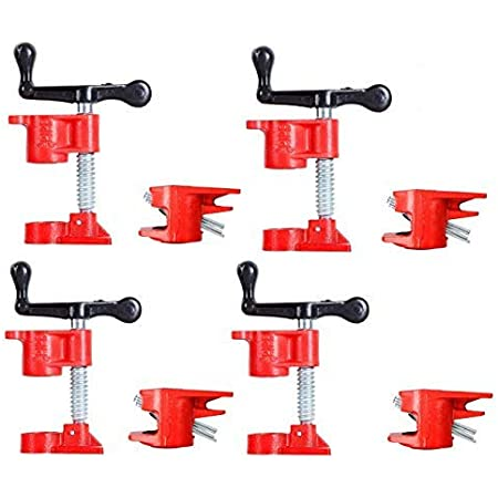 Woodworking Vise,4 Set 3//4inch Wood Carpenters Clamp Quick Release Heavy Duty Wide Base Iron Wood Metal Clamp Set Woodworking Workbench Pipe Screw Clamp for Woodworking Wood Construction Work