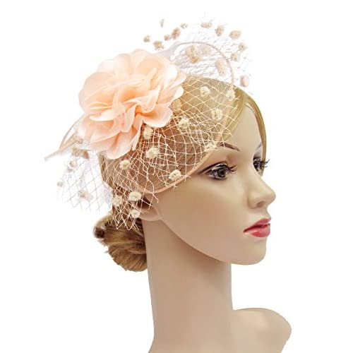 12d5dce4e0d38 Fascinators Hats for Womens 50s Headwear with Veil Flower Cocktail Wedding Tea  Party Church Derby Hat