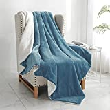 """Walensee Sherpa Fleece Blanket (Throw Size 50""""x60"""" Slate Blue) Plush Throw Fuzzy Super Soft Reversible Microfiber Flannel Blankets for Couch, Bed, Sofa Ultra Luxurious Warm and Cozy for All Seasons"""