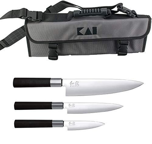 Kai 67-W18 Wasabi Black Messer-Set (Allzweckmesser+Schälmesser+Kochmesser), Edelstahl, schwarz + Kai-Messertasche