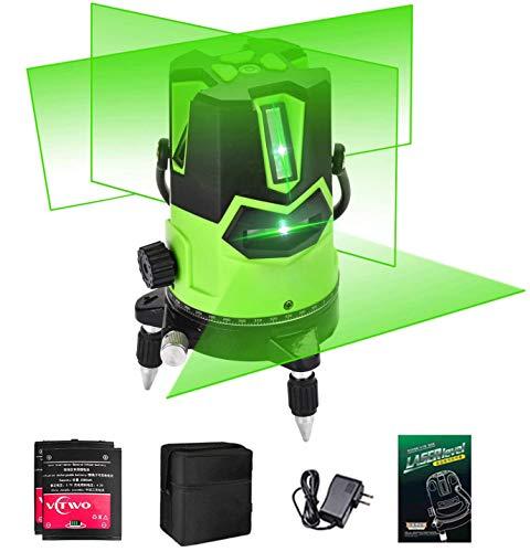 Livello Laser 5 Linee Laser Verde Autolivellante Base Girevole a 360 ° Quattro Linee Verticali e una Orizzontale con punto a Piombo Verso il Basso Interno/Esterno Borsa per Trasporto 2* Batterie