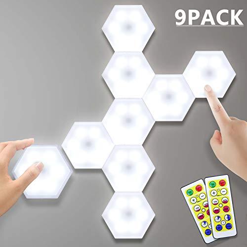 Lightess 9er DIY LED Nachtlicht Touch Wandlampe Schrankbeleuchtung Unterbauleuchten Kaltweiß Dekorative Wandleuchte Wandlicht Dimmbares Licht Batteriebetrieben mit Fernbedienung