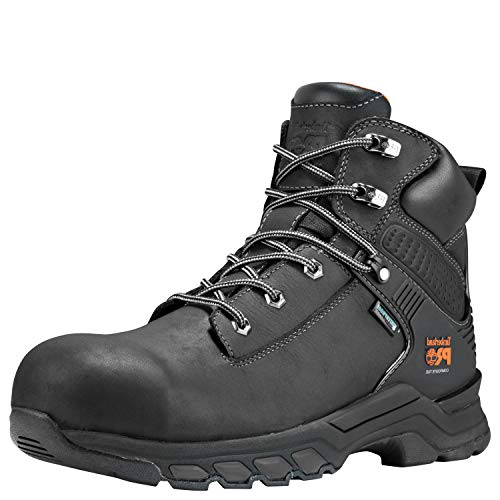 "Timberland PRO Men's Hypercharge 6"" Composite Toe Waterproof Industrial Boot, Black Full Grain Leather, 10"