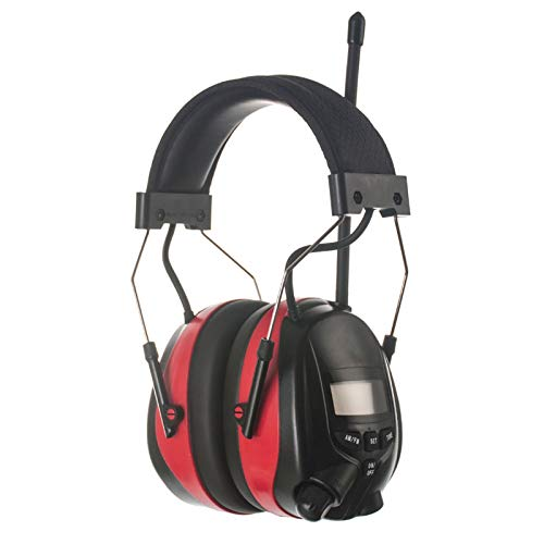 PROTEAR AM FM Radio Headphone with Digital Display, Electronic Ear Hearing Protection, Noise Reduction NRR 25dB for Mowing Lawn for Outdoor Firework (Red)