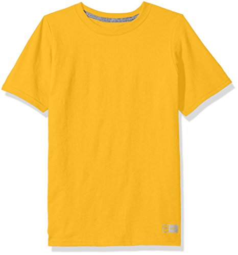 Russell Athletic Boys' Big Performance Cotton Short Sleeve T-Shirt, Gold, Large