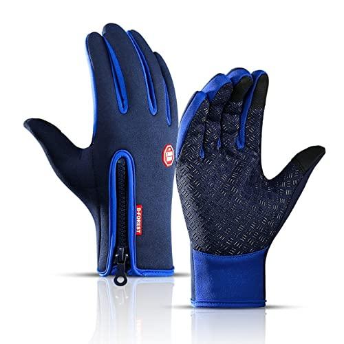 Guanti invernali unisex touch screen da uomo caldi all'aperto ciclismo guida arrampicata guanti moto freddo guanti impermeabili antiscivolo-Dark blue-8-L