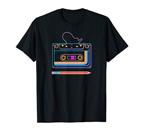 70er 80er Kassette mit Stift, Retro Vintage Tape T-Shirt