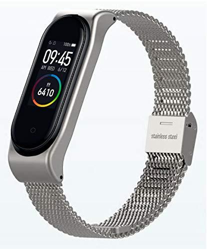 Xiaomi Mi Band 4 Smart Band AMOLED Touchscreen Activity Tracker Armband: Edelstahl Mesh Silber, inkl. Wechselarmband: Schwarz - Silikon