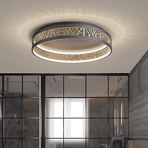Lámpara de techo contemporánea moderna LED 44 W regulables luces de techo brillante Iluminación de techo gris para sala de estar pasillo salón lámpara redonda fácil ajuste luz de techo
