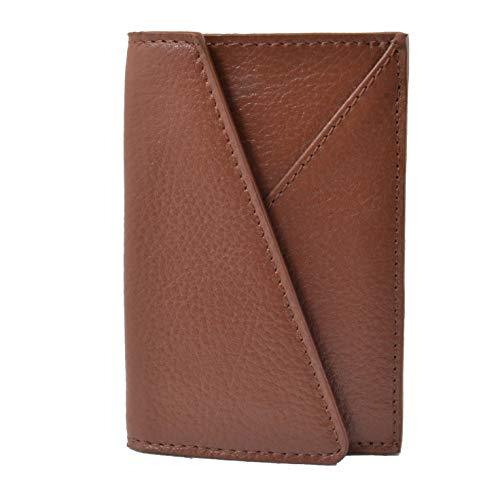 GreSel, tarjetero de tarjetas de visita de real cuero, delgado, 2 soportes de tarjetas de crédito, 2 soportes de tarjetas, con caja de regalo Cuero marrón -