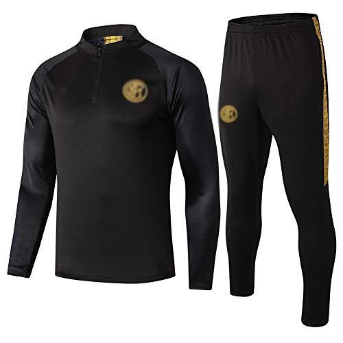 L-YIN Tire Jersey Suit Europa Football Club Training deportes al aire libre de los hombres de la mitad (Tops + Pants) - AG0397 Chándales (Color : Black, Size : S)