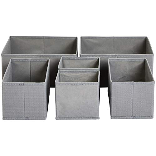 AmazonBasics - Schubladen-Organizer für Kleidung, 6er-Set