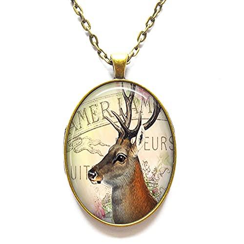 Colgante de ciervo, collar de ciervo, joyería de arte de ciervo, regalo para amantes de la naturaleza o camper, colgante de arte, N362