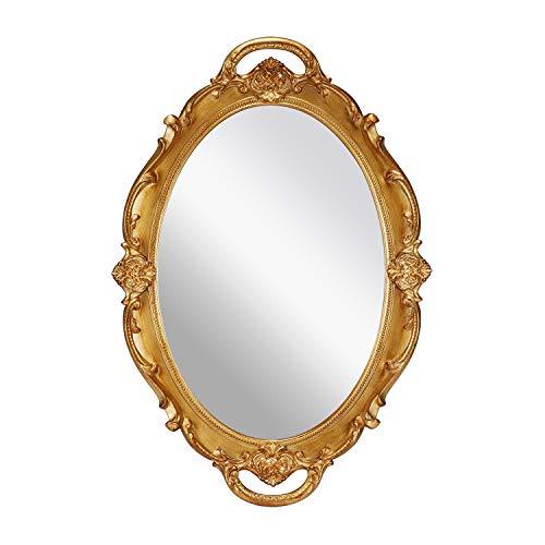 OMIRO dekorativer Wandspiegel, Vintage Geschnitzte hängende Spiegel für Schlafzimmer Wohnzimmer Kommode Dekor, ovales antikes Gold, M.