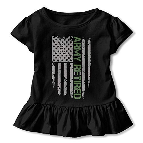 Army Retired Flag Toddler Baby Girl Short Sleeve Cotton T-Shirt
